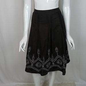 Michael Kors Embroidered Brown Cotton Full Skirt